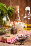 Food ingredients in studio. Some fresh food ingredients in studio on wooden background Royalty Free Stock Images