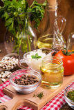 Food ingredients in studio. Some fresh food ingredients in studio on wooden background Royalty Free Stock Photography