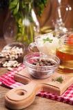 Food ingredients in studio. Some fresh food ingredients in studio on wooden background Stock Photo