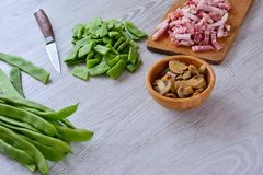 Food ingredients on table in close-up Royalty Free Stock Photo