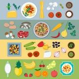 Food ingredients vector flat illustration Royalty Free Stock Photos