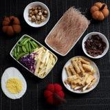 Food ingredients, vegetables rice vermicelli royalty free stock photos