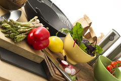 Food Ingredients on Wooden Board at the Table Royalty Free Stock Photography