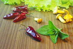 Food ingredients on a wooden table. Food ingridients: chili peppers, salad and chanterelles on a wooden table Stock Photography