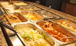 Food inside the self service Chinese restaurant Royalty Free Stock Photography