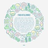 Food intolerance concept in circle. With thin line icons of common allergens gluten, lactose, soy, corn and more, sugar and trans fat, vegetarian and organic Stock Photo