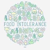 Food intolerance concept in circle. With thin line icons of common allergens, sugar and trans fat, vegetarian and organic symbols. Vector illustration Royalty Free Stock Images