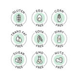 Food Intolerance Concept. Isolated Vector Style Illustration Logo Set Badge Ingredient Warning Label Icons. Allergens Gluten, Lactose, Soy, Corn, Diary, Milk Royalty Free Illustration