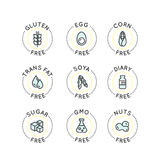 Food Intolerance Concept. Isolated Vector Style Watercolor Illustration Logo Set Badge Ingredient Warning Label Icons. Allergens Gluten, Lactose, Soy, Corn Royalty Free Illustration