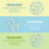 Food intolerance concept with thin line icons. Of common allergens gluten, lactose, soy, corn and more, sugar and trans fat, vegetarian and organic symbols Stock Photos