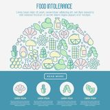Food intolerance concept with thin line icons. Of common allergens gluten, lactose, soy, corn and more, sugar and trans fat, vegetarian and organic symbols Stock Images