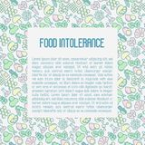 Food intolerance concept with thin line icons. Of common allergens gluten, lactose, soy, corn and more, sugar and trans fat, vegetarian and organic symbols Stock Photo
