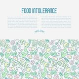 Food intolerance concept with thin line icons. Of common allergens, sugar and trans fat, vegetarian and organic symbols. Vector illustration Stock Image