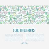Food intolerance concept with thin line icons. Of common allergens, sugar and trans fat, vegetarian and organic symbols. Vector illustration Royalty Free Stock Photography