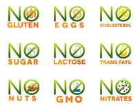 Food intolerance icons. Health care diets such as no gluten, no sugar, no nuts, no GMO, no nitrates, no trans fats, no cholesterol, no eggs, no lactose Royalty Free Stock Images