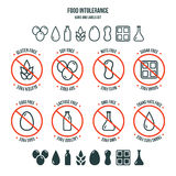 Food intolerance icons and labels set Stock Photography