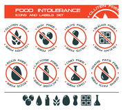 Food intolerance icons and labels set. Diet icons and labels, food intolerance such as gluten free, soy free, nuts free, sugar free, eggs free, lactose free, GMO Stock Photo