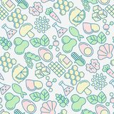 Food intolerance seamless pattern. With thin line icons of common allergens, sugar and trans fat, vegetarian and organic symbols. Vector illustration for Royalty Free Stock Photo