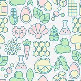 Food intolerance seamless pattern. With thin line icons of common allergens, sugar and trans fat, vegetarian and organic symbols. Vector illustration Royalty Free Stock Photo