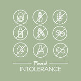 Food Intolerance Set. Isolated Vector Style Illustration Logo Set Badge Ingredient Warning Label Icons. Allergens Gluten, Lactose, Soy, Corn, Diary, Milk, Sugar Stock Illustration
