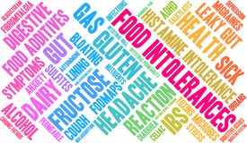 Food Intolerances Word Cloud. On a white background Stock Photo
