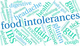 Food Intolerances Word Cloud. On a white background Royalty Free Stock Images