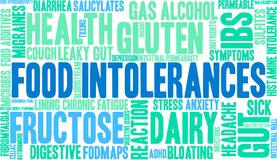 Food Intolerances Word Cloud. On a white background Royalty Free Stock Photo