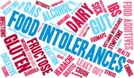 Food Intolerances Word Cloud. On a white background Royalty Free Stock Image