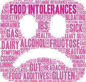 Food Intolerances Word Cloud. On a white background stock illustration