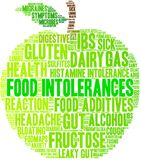 Food Intolerances Word Cloud. On a white background Stock Image