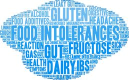 Food Intolerances Word Cloud Stock Photography