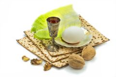 Traditional food and drink for celebration of Jewish Passover Stock Photo