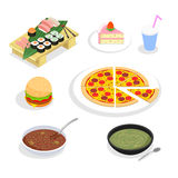 Food isometric icons. Hamburgers and sushi, cake. And pizza. Restaurant and meat, lunch and menu, vector illustration royalty free illustration