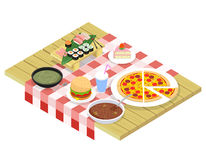 Food isometric icons on table Stock Photography
