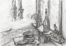 Food items inside kitchen. Graphite pencil on paper Royalty Free Stock Photography