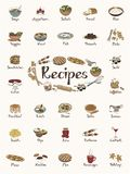 Food items / recipe stickers / cute hand-drawn illustrations Stock Photography