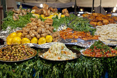 Food at the Jamaa el Fna market Royalty Free Stock Photo