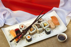 Food - Japanese Sushi - Flag of Japan Stock Image