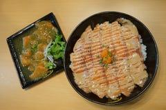 Food. Japaness-style fish salmon vegetables salad cream-sauce royalty free stock photos
