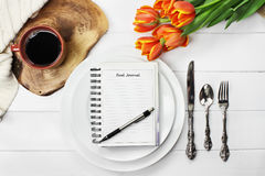 Food Journal Empty Plates and Coffee Stock Photography