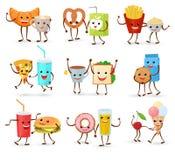 Food kawaii vector cartoon expression characters of fastfood hamburger loving doughnut emoticon illustration valentines Stock Illustration