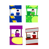 Food kiosk. Food cart stalls. Food kiosk sign icons stock illustration