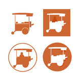 Food kiosk. Food cart stalls, Asian kiosk icon set Stock Images