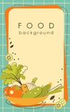 Food Kitchen Background In Doodle Retro Style Royalty Free Stock Image