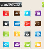 Food and Kitchen Bookmark Icons Royalty Free Stock Images