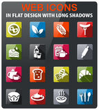 Food and kitchen icon set. Food and kitchen icons set in flat design with long shadow Royalty Free Stock Images