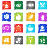 Food and kitchen icon set. Food and kitchen web icons in grunge style for user interface design Royalty Free Stock Photography