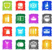 Food and kitchen icon set. Food and kitchen web icons in grunge style for user interface design Royalty Free Stock Image