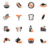 Food and kitchen icon set. Food and kitchen web icons for user interface design Royalty Free Stock Images