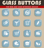 Food and kitchen icon set. Food and kitchen web icons for user interface design Stock Image